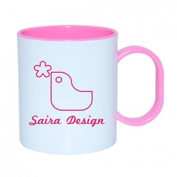Personaliza Taza de plástico con interior y asa de color rosa