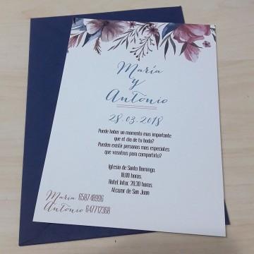 Invitación Blue & Brown Floral